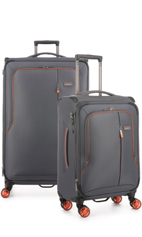 Antler Clarendon Large 82cm and Cabin/Carry On 56cm Expandable Grey Soft Suitcase Set