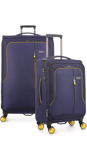 Antler Clarendon Expandable 82cm Large and and 56cm Cabin/Carry On Purple Suitcase Set