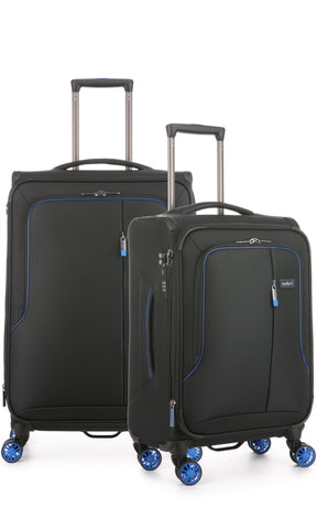 Antler Clarendon Expandable 70cm Medium and 56cm Cabin/Carry On Black Suitcase Set