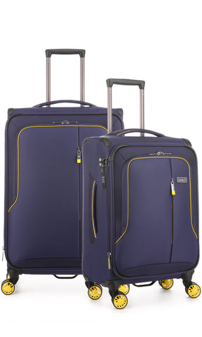 Antler Clarendon Expandable 70cm Medium and 56cm Cabin/Carry On Purple Suitcase Set
