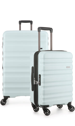 Antler Clifton Large 80cm And Cabin/Carry On 56cm Light Blue Expandable Hard Suitcase Set