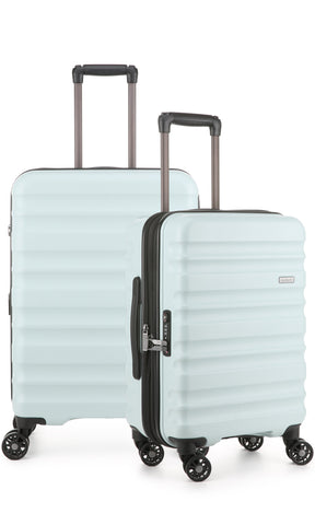 Antler Clifton Medium 68cm And Cabin/Carry On 56cm Light Blue Expandable Hard Suitcase Set