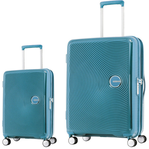American Tourister Curio Large 80cm And Cabin/Carry On 55cm Turquoise Set