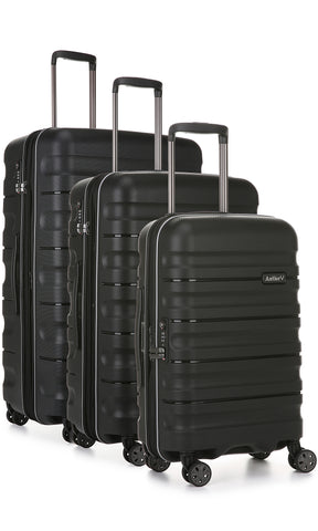 Antler Juno 2 Black Expandable 3 Piece Hard Suitcase Set with FREE GO Travel Scale