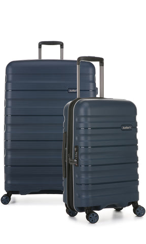 Antler Juno 2 Large 80cm And Cabin/Carry On 56cm Navy Expandable Hardcase Set