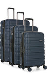 Antler Juno 2 Navy Expandable 3 Piece Hard Suitcase Set with FREE GO Travel Scale