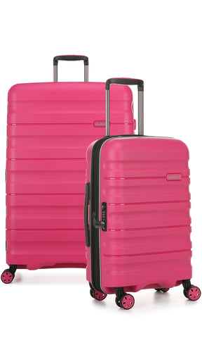 Antler Juno 2 Large 80cm And Cabin/Carry On 56cm Pink Expandable Hardcase Set