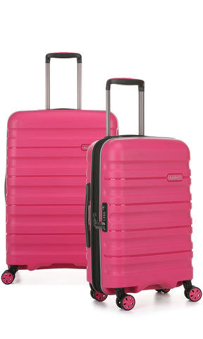 Antler Juno 2 Medium 68cm And Cabin/Carry On 56cm Pink Expandable Hardcase Set