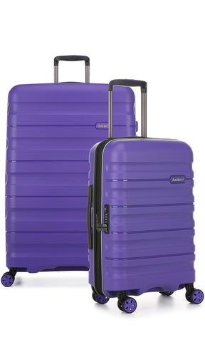 Antler Juno 2 Large 80cm And Cabin/Carry On 56cm Purple Expandable Hardcase Set