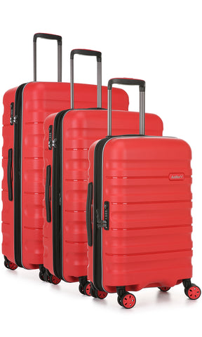 Antler Juno 2 Red Expandable 3 Piece Hard Suitcase Set with FREE GO Travel Scale