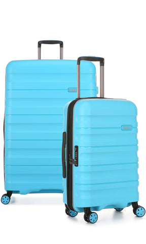 Antler Juno 2 large 80cm And Cabin/Carry On 56cm Turquoise Expandable Hardcase Set