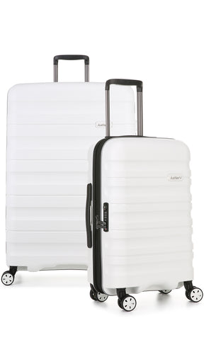 Antler Juno 2 Medium 68cm And Cabin/Carry On 56cm White Expandable Hardcase Set
