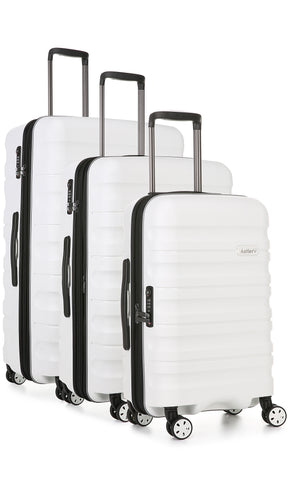 Antler Juno 2 White Expandable 3 Piece Hard Suitcase Set with FREE GO Travel Scale