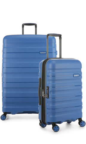 Antler Juno 2 Blue Expandable Hard Suitcase Large And Cabin Set