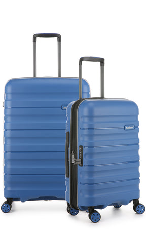 Antler Juno 2 Blue Expandable Hard Suitcase Medium And Cabin Set