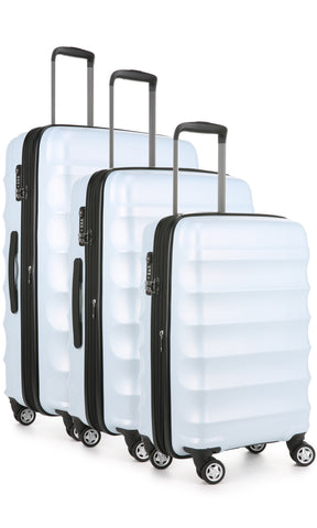 Antler Juno Camber Light Blue Expandable 3 Piece Hard Suitcase Set