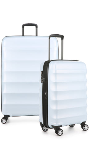 Antler Juno Camber Large 80cm And Cabin/Carry On 56cm Light Blue Expandable Hard Suitcase Set