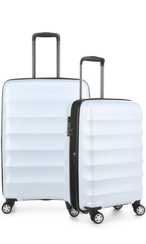 Antler Juno Camber Medium 68cm And Cabin/Carry On 56cm Light Blue Expandable Hard Suitcase Set
