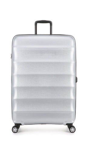 Antler Juno Metallic DLX Large 79cm Silver Expandable Hard Suitcase