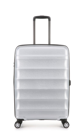 Antler Juno Metallic DLX Medium 68cm Silver Expandable Hard Suitcase