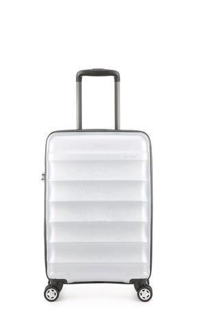 Antler Juno Metallic DLX Cabin 56cm Silver Expandable Hard Suitcase