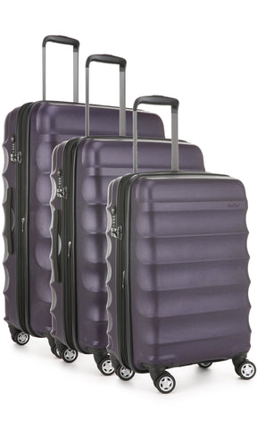 Antler Juno Metallic DLX Aubergine Expandable Hard Suitcase Set of 3 with FREE SCALE