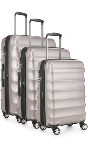 Antler Juno Metallic DLX Bronze Expandable Hard Suitcase Set of 3 with FREE SCALE