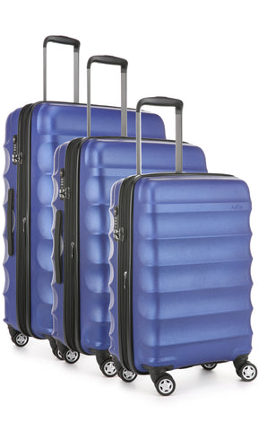 Antler Juno Metallic DLX Blue Expandable Hard Suitcase Set of 3 with FREE SCALE
