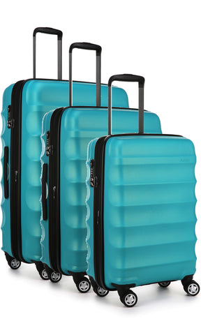 Antler Juno Metallic DLX Teal Expandable Hard Suitcase Set of 3 with FREE SCALE