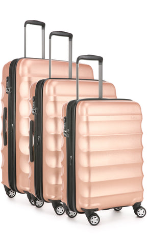 Antler Juno Metallic DLX Rose Gold Expandable Hard Suitcase Set of 3 with FREE SCALE
