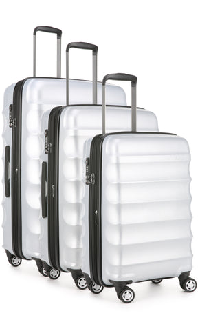 Antler Juno Metallic DLX Silver Expandable Hard Suitcase Set of 3 with FREE SCALE