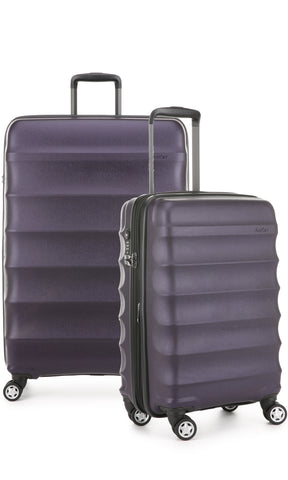 Antler Juno Metallic DLX Aubergine Expandable Hard Suitcase Large And Cabin Set