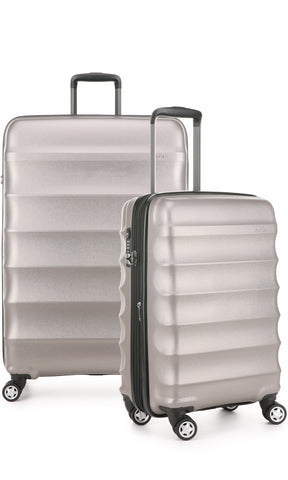 Antler Juno Metallic DLX Bronze Expandable Hard Suitcase Large And Cabin Set