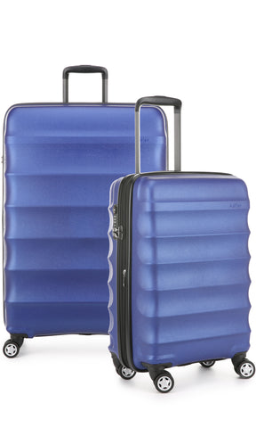 Antler Juno Metallic DLX Blue Expandable Hard Suitcase Large And Cabin Set