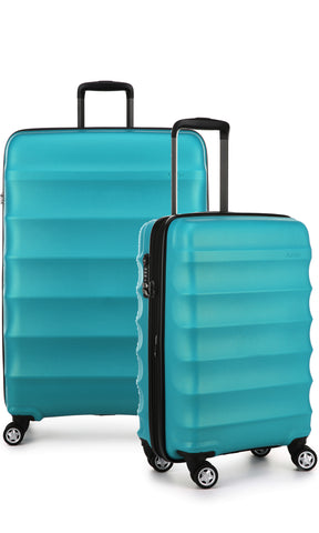 Antler Juno Metallic DLX Teal Expandable Hard Suitcase Large And Cabin Set