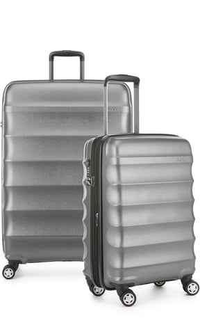 Antler Juno Metallic DLX Charcoal Expandable Hard Suitcase Large And Cabin Set