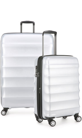 Antler Juno Metallic DLX Silver Expandable Hard Suitcase Large And Cabin Set