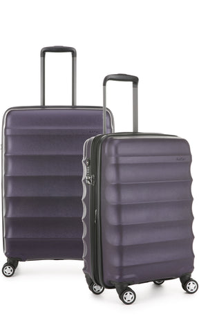 Antler Juno Metallic DLX Aubergine Expandable Hard Suitcase Medium And Cabin Set