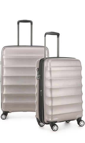 Antler Juno Metallic DLX Bronze Expandable Hard Suitcase Medium And Cabin Set