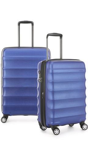 Antler Juno Metallic DLX Blue Expandable Hard Suitcase Medium And Cabin Set