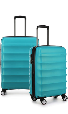 Antler Juno Metallic DLX Teal Expandable Hard Suitcase Medium And Cabin Set