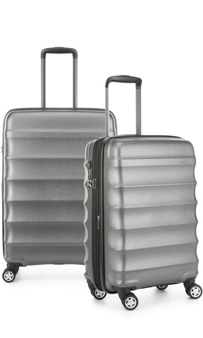 Antler Juno Metallic DLX Charcoal Expandable Hard Suitcase Medium And Cabin Set