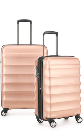Antler Juno Metallic DLX Rose Gold Expandable Hard Suitcase Medium And Cabin Set