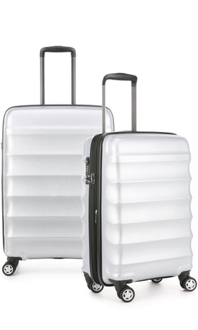 Antler Juno Metallic DLX Silver Expandable Hard Suitcase Medium And Cabin Set