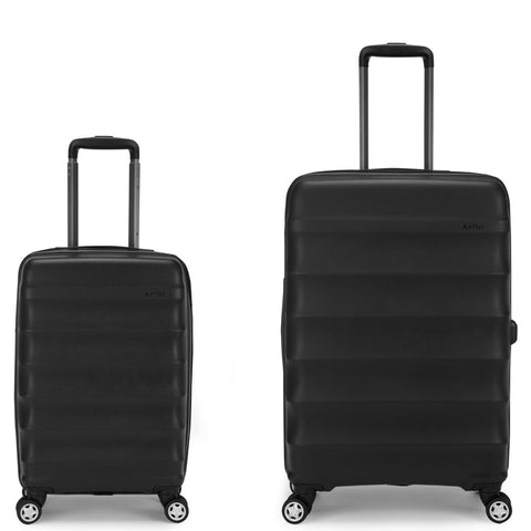 Antler Juno Expander Medium 68cm And Cabin/Carry On 56cm Black Hard Suitcase Set