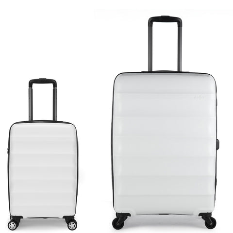 Antler Juno Expander Medium 68cm And Cabin/Carry On 56cm White Hard Suitcase Set