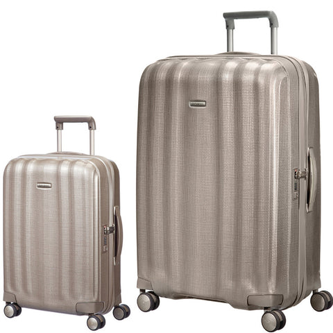 Samsonite Lite Cube Large 82cm And Cabin/Carry On 55cm Ivory Gold Set