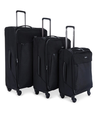 Antler Oxygen Black Softcase 3 Piece Soft Suitcase Set
