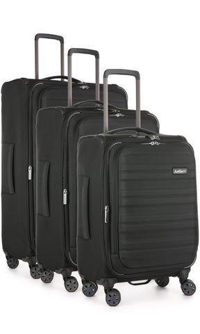 Antler Portland Black Expandable 3 Piece Hard Suitcase Set