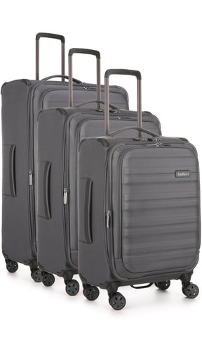 Antler Portland Charcoal Expandable 3 Piece Hard Suitcase Set